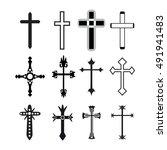 vector christian cross icons ... | Shutterstock .eps vector #491941483