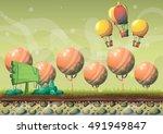 cartoon vector nature landscape ... | Shutterstock .eps vector #491949847