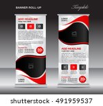 red roll up banner template ... | Shutterstock .eps vector #491959537