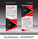 red roll up banner template ... | Shutterstock .eps vector #491959627