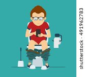 guy hipster sits on  toilet... | Shutterstock .eps vector #491962783