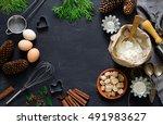 christmas dark baking...   Shutterstock . vector #491983627