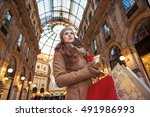 on a huge christmas sales in... | Shutterstock . vector #491986993