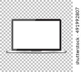 laptop with white screen flat...   Shutterstock .eps vector #491992807