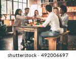 cheers to us  group of cheerful ... | Shutterstock . vector #492006697