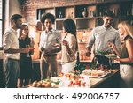 party with best friends. group... | Shutterstock . vector #492006757