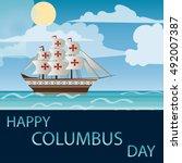 happy columbus day vector...   Shutterstock .eps vector #492007387
