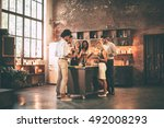 home party. full length of... | Shutterstock . vector #492008293