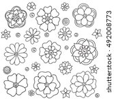 set flowers on a white... | Shutterstock .eps vector #492008773