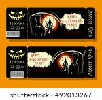 set of happy halloween ticket... | Shutterstock .eps vector #492013267