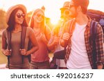 hiking with friends is so fun.... | Shutterstock . vector #492016237