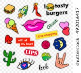 fashion patch badges. stickers  ... | Shutterstock . vector #492016417