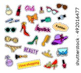 fashion patch badges. fashion... | Shutterstock . vector #492016477