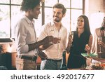 enjoying party with friends.... | Shutterstock . vector #492017677