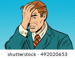 faceapalm retro man remembered... | Shutterstock .eps vector #492020653