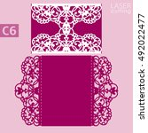 laser cut wedding invitation... | Shutterstock .eps vector #492022477