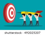 teamwork. towards the goal.... | Shutterstock .eps vector #492025207