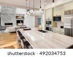 kitchen with island  sink ...   Shutterstock . vector #492034753