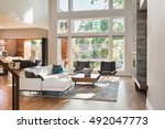 beautiful living room interior... | Shutterstock . vector #492047773