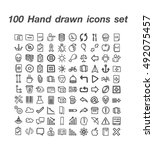 100 hand drawn icons set   Shutterstock .eps vector #492075457