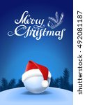 santa hat on snowball and... | Shutterstock .eps vector #492081187