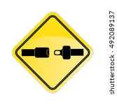 fasten your seat belt  sign.... | Shutterstock .eps vector #492089137