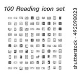 100 reading icon set | Shutterstock .eps vector #492098023