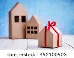 gift wrapping of cardboard tied ...   Shutterstock . vector #492100903