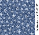 jeans background with stars.... | Shutterstock .eps vector #492101917