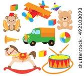 retro toys vector cartoon... | Shutterstock .eps vector #492103093