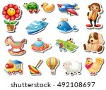 sticker set of many toys... | Shutterstock .eps vector #492108697