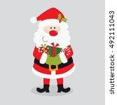 santa claus bring christmas... | Shutterstock .eps vector #492111043