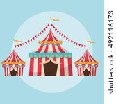 striped tent of carnival design | Shutterstock .eps vector #492116173
