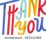 thank you  lettering greeting... | Shutterstock .eps vector #492122383
