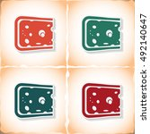 cheese. flat sticker with... | Shutterstock .eps vector #492140647