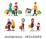set of characters and people... | Shutterstock .eps vector #492142693