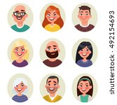 set avatars happy smiling... | Shutterstock .eps vector #492154693