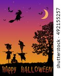halloween landscape with... | Shutterstock . vector #492155257