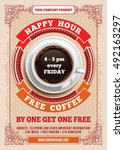 happy hour. free coffee.... | Shutterstock .eps vector #492163297