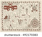 old maya or pirate map on... | Shutterstock .eps vector #492170383