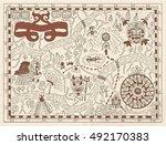 old maya or pirate map on...