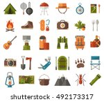 camping icon set. camp gear and ...