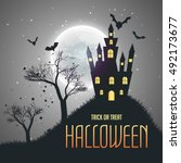 halloween house night sky... | Shutterstock .eps vector #492173677