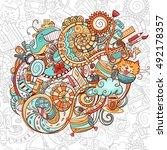 cartoon doodles  hand drawn... | Shutterstock .eps vector #492178357