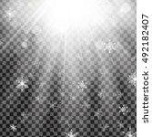 falling white snow  snowflakes... | Shutterstock .eps vector #492182407