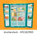 refrigerator full of food.... | Shutterstock .eps vector #492182983
