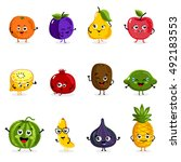 cartoon fruit cute characters... | Shutterstock .eps vector #492183553