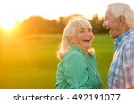 senior couple laughing. man and ... | Shutterstock . vector #492191077
