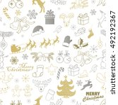 seamless christmas pattern.... | Shutterstock .eps vector #492192367