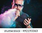 men with beard  in sunglasses... | Shutterstock . vector #492193363